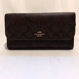 COACH LEATHER TRI WALLET NWOT